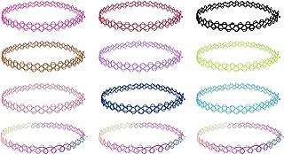Choker Kette Set,12er Halsband Halsketten Kropfband Modeschmuck Fashion Bijouterie für Mädchen Mädel Kinder Frauen aus elastisch Gummi/Kunststoff, bunt u. schick