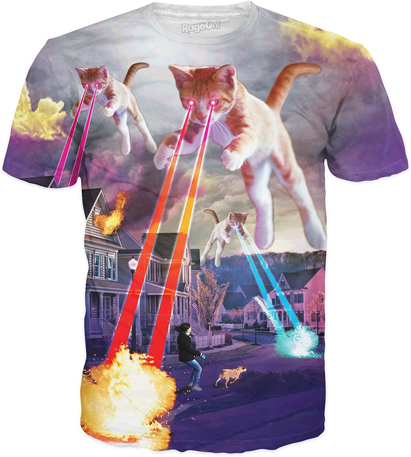 76792a82f RageOn Let's Rage Kitten Invasion Premium All Over Over Over Print T-Shirt  57b412