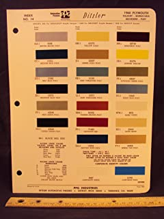 1968 PLYMOUTH Valiant, Barracuda, Belvedere, & Fury Paint Colors Chip Page