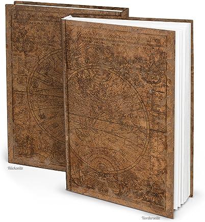 XXL Notizbuch ALTE WELT dunkel-braun antike Welt-Karte Globus Erde Tagebuch vintage Nostalgie alt Reisetagebuch Blanko-Buch Geschenkbuch DIN A4 - persönliches Geschenk HARDCOVER