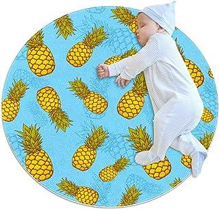 Ananas exotisk, barn rund matta polyester överkast matta mjuk pedagogisk tvättbar matta barnkammare tipi tält lekmatta