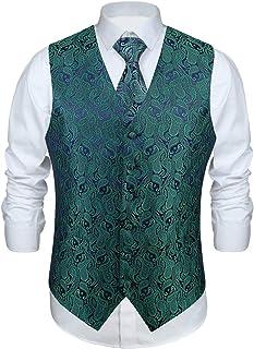 Enlision Men's Paisley Waistcoat Floral Jacquard Neck Tie Pocket Square Handkerchief Wedding Party Business Fit Vest Tweed...