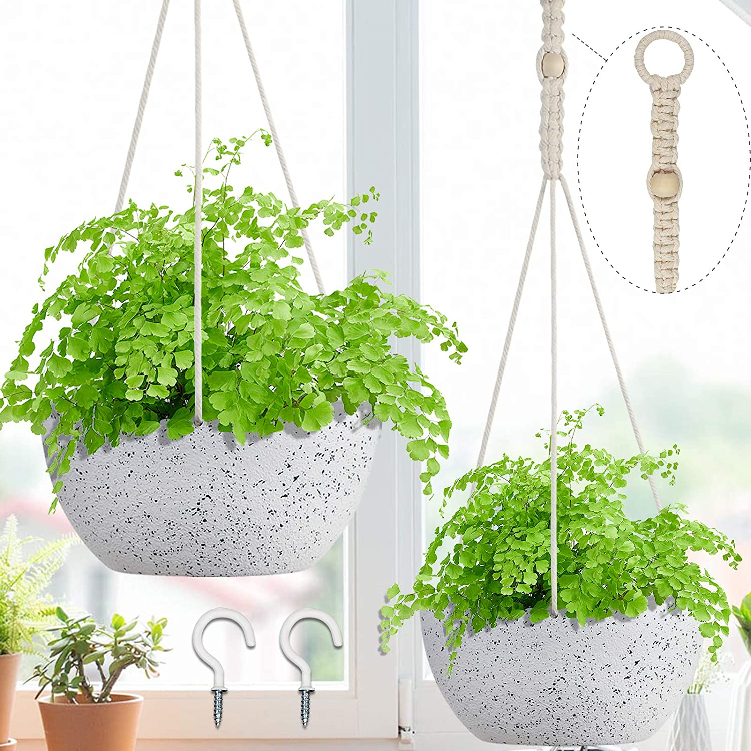 AerWo 2 Pack Hanging Max Sales results No. 1 78% OFF Planters for 8 Plants Indoor Outdoor Inch