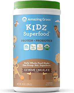 Amazing Grass Kidz Superfood: Vegan Protein & Probiotics for Kids with 1/2 Cup of Leafy Greens, Extreme Chocolate, 15 Serv...