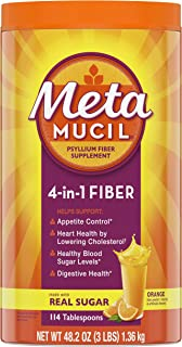 Metamucil Fiber, 4-in-1 Psyllium Fiber Supplement Powder with Real Sugar, Orange Smooth Flavored Drink, 114 Servings (Packaging May Vary)