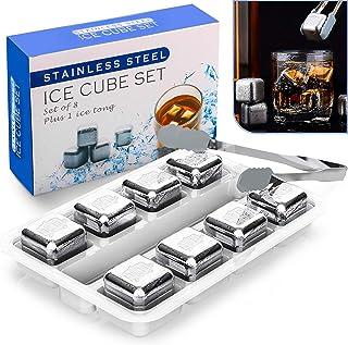 Familybox Whisky Eiswürfel Steine, 8 Eiswürfel Wiederverwendbare mit Gravur Weinfass, Lebensmittelecht Edelstahl Ice Cubes Kühlsteine, Schnell Kühltechnologie, Besonderes Geschenk Set