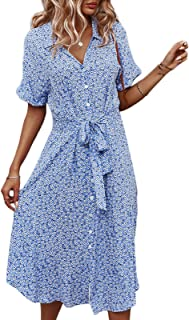 Women's Dress with Ruffles Long Summer Dresses Casual Floral Print Short Sleeve Beach Dress Sexy V Neck for Dating, Travel