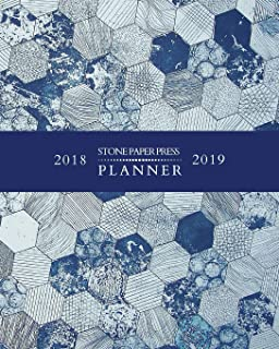 2018 2019 Stone Paper Press Planner: Weekly and Monthly Schedule/Calendar Sept 2018 – Dec 2019 Blue Geometric Shapes