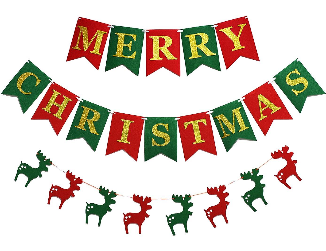 THAWAY Felt Fabric Merry Christmas Banners, Christmas Wall Decorations, Christmas Reindeer Pennent Banner, Christmas Fireplace Wall Banner