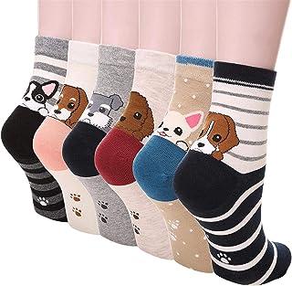 Kfnire, Mujer 3D calcetines de pintura animal que tejen calcetines de lana de lana, 4 pares / 5 pares / 6 pares