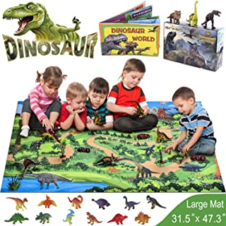GINMIC Dinosaur Toys, 21 PCS Realistic Dinosaur Figures with Large 31.5 x 47.3 Inch Activity Play Mat & Trees, Including ...