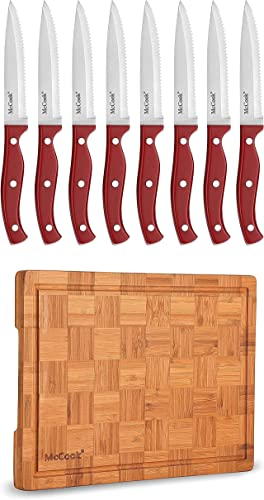 """lowest McCook MC56 Full Tang Serrated Stainless Steel Steak Knives Set of 8, Red + MCW12 high quality Bamboo sale Cutting Board (Small, 14""""x10""""x0.8"""") online"""