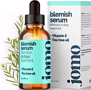 JOMO Care 100% Pure Tea Tree Oil, Active Acne Spot Treatment Serum with Zinc & Vitamin E to Clear & Repair Skin, Scalp & Body, Treat Blackhead, Pores and Reduce Blemish (0.5oz)