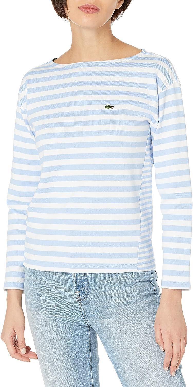 Lacoste Women's Long Sleeve Striped Boatneck T-Shirt