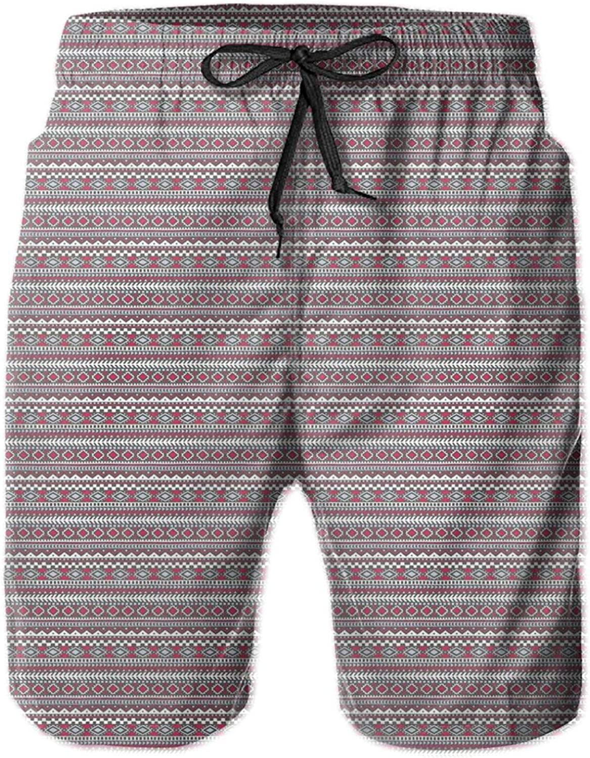 Pattern in Bohemian Style with Ethnic Motifs Geometric Design Pink and Grey Mens Swim Shorts Casual Workout Short Pants Drawstring Beach Shorts,XXL