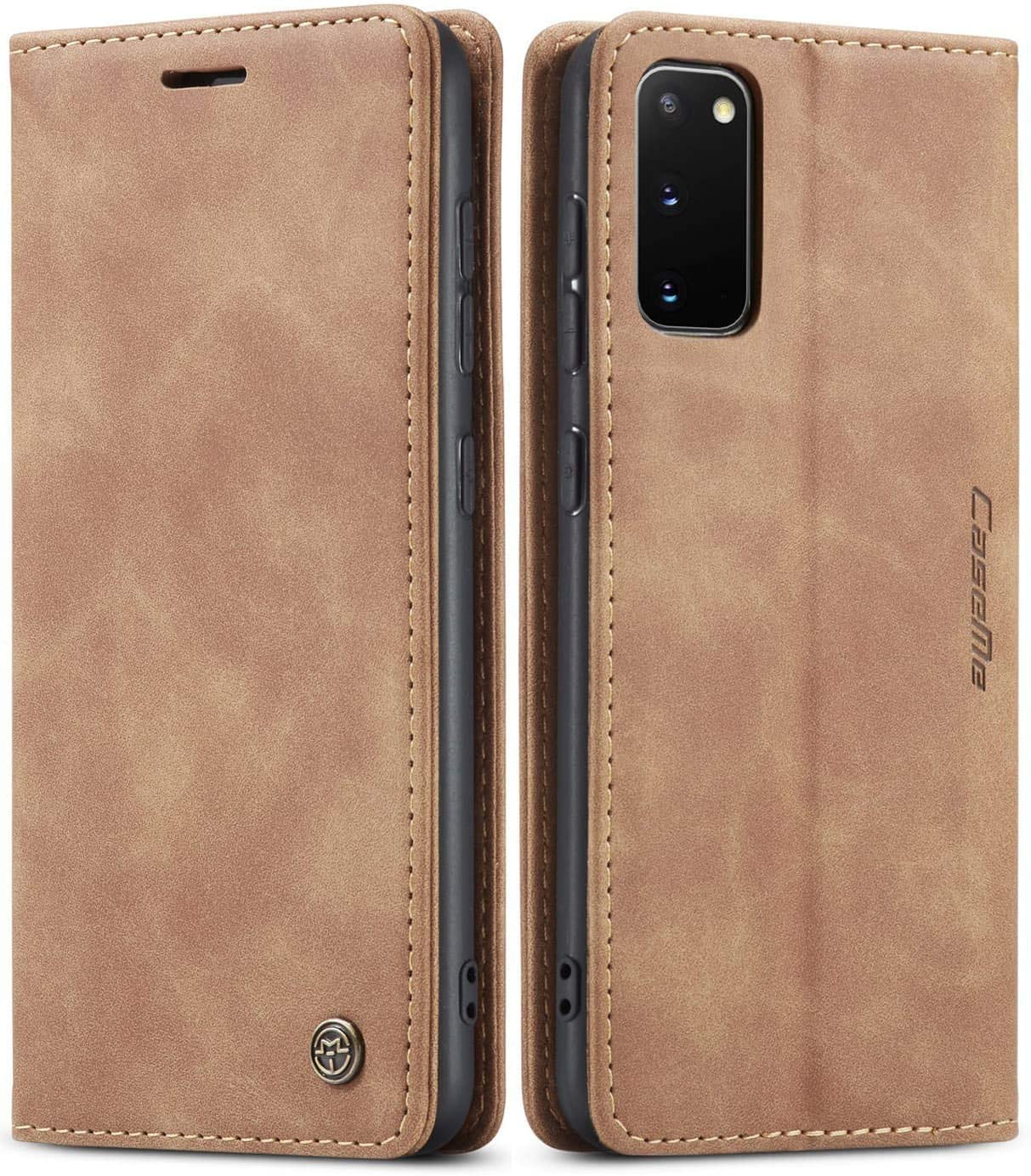 SINIANL Samsung Galaxy S20 Case, Galaxy S20 Leather Case, Vintage Wallet Case Book Folding Flip Case with Kickstand Card Holders Slots Magnetic Closure Protective Cover for Galaxy S20 Brown