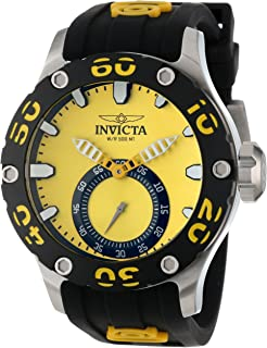 Men's 12705 Russian Diver Yellow Dial Black Silicone Watch