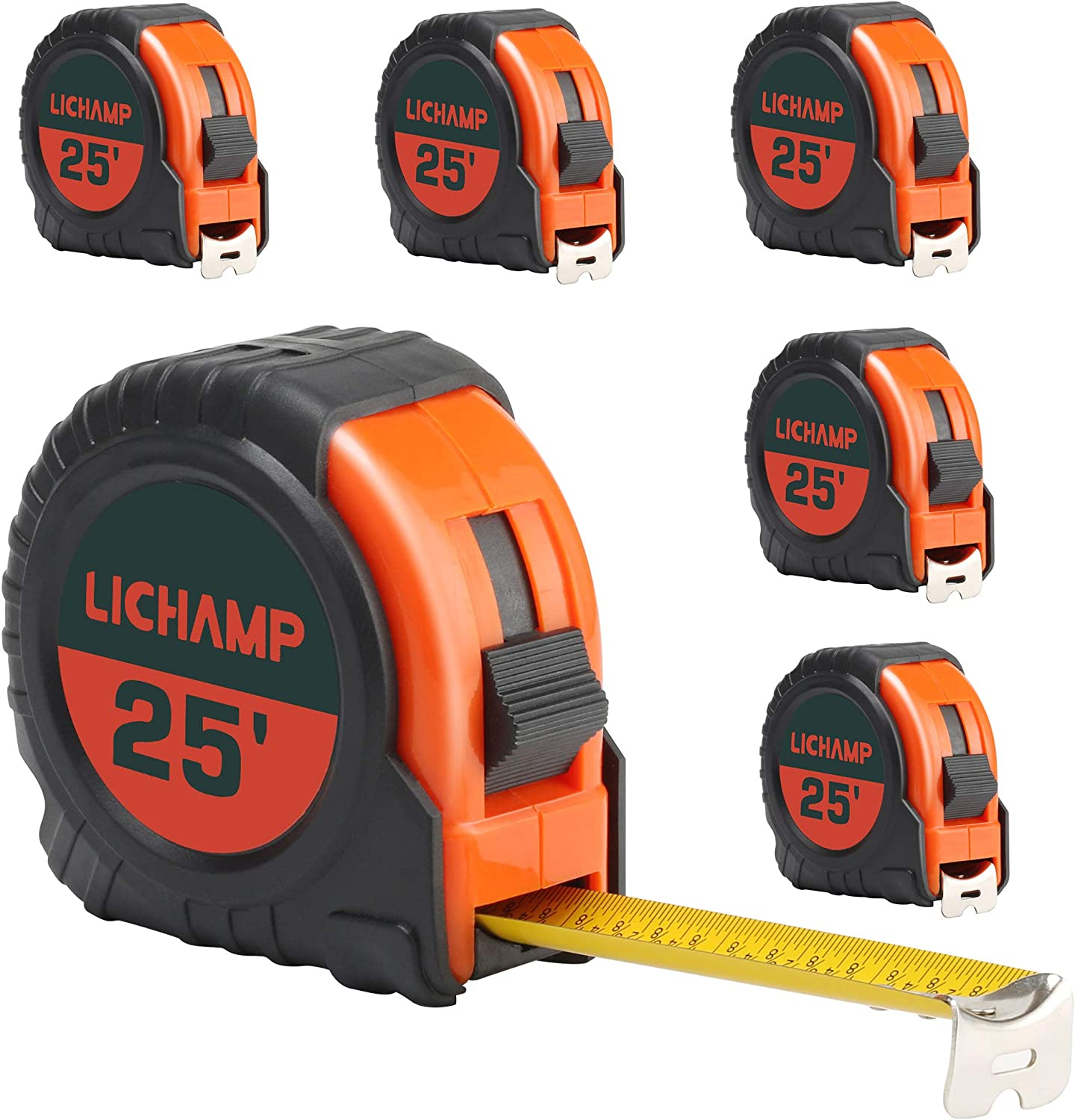 LICHAMP Tape Measure 25 ft, 6 Pack Bulk Easy Read Measuring Tape Retractable with Fractions 1/8, Measurement Tape 25-Foot by 1-Inch - -