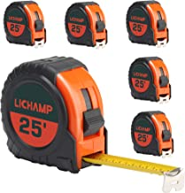 LICHAMP Tape Measure 25 ft, 6 Pack Bulk Easy Read Measuring Tape Retractable with Fractions 1/8, Measurement Tape 25-Foot ...