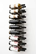 Vintage View Wall Series - 18 Bottle Wall Mounted Wine Rack (Brushed Nickel) Stylish Modern Wine Storage with Label Forward Design