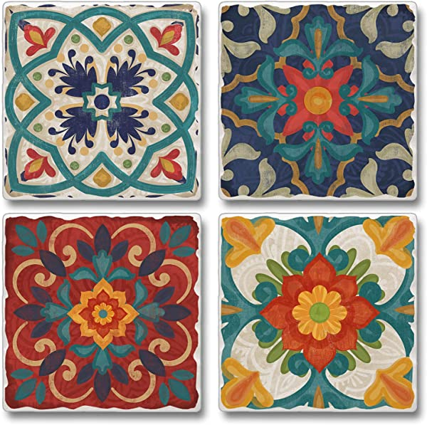 Highland Home Assorted Tumbled Tile Coaster Set Spanish Villa