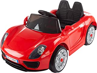 Lil' Rider Ride On Sports Car – Motorized Electric Rechargeable Battery Powered Toy with Remote Control, MP3 and USB, Lights and Sound (Red)