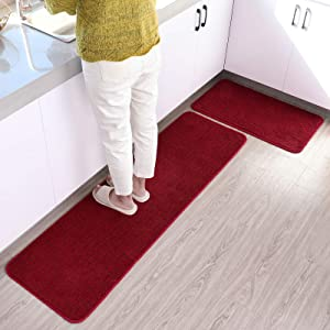 ITSOFT 2pc Non-Slip Kitchen Rug Set Polyester Dirt Trapper Indoor Outdoor Doormat Runner Rug, 59 x 17.5 Inches + 29.5 x 17.5 Inches, Red & Black