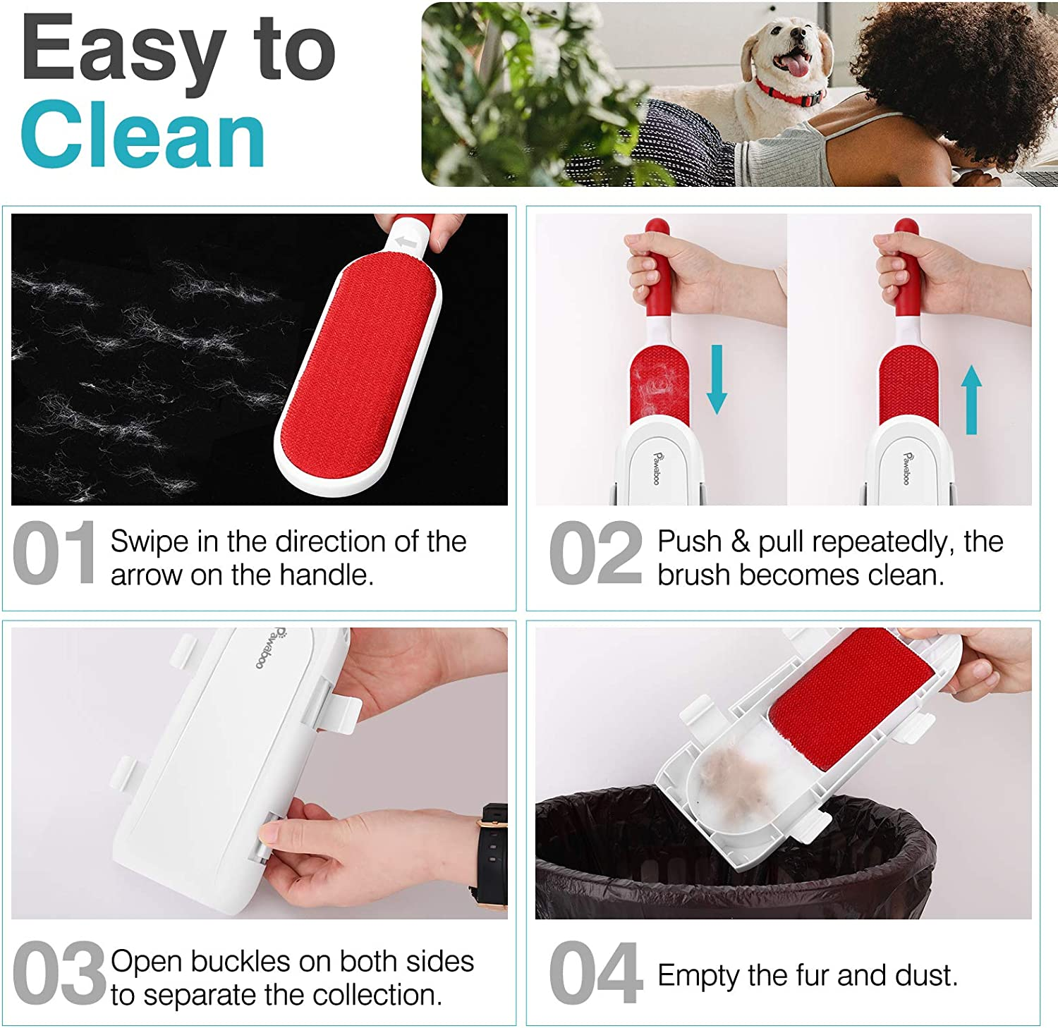 Reusable Lint Brush with Self-Cleaning Base for Removing Dog /& Cat Hair from Clothes Car Seat and Furniture Carpet Cat and Dog Hair Remover Fur Cleaner Tool Pawaboo Pet Fur Remover