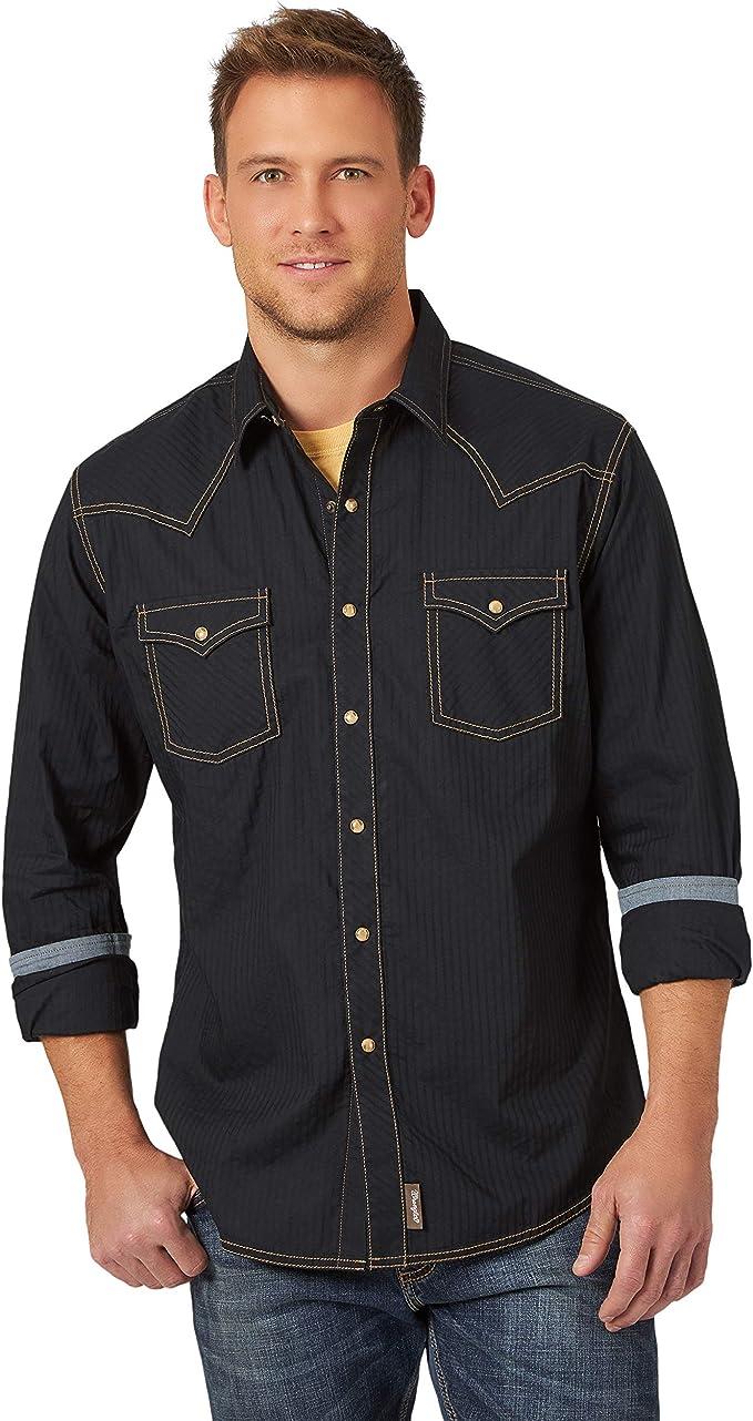 1950s Men's Clothing Wrangler Mens Retro Two Pocket Long Sleeve Snap Shirt  AT vintagedancer.com