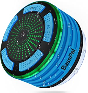 BassPal Shower Radios, IPX7 Waterproof Portable Wireless Bluetooth Speaker with LED Mood..