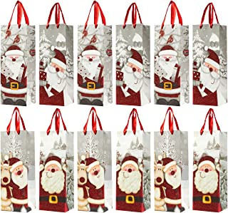Juvale 12-Pack Wine Bags - Santa Claus-Themed Paper Bags with Satin Handles for Shopping, Alcohol, 4 Assorted Designs - 4 x 5 x 13.5 Inches