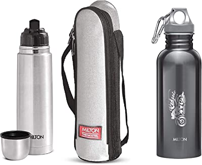 Milton Thermosteel Flip Lid Flask, 1000 millilitres, Silver & Alive 750 Stainless Steel Water Bottle, 750 ml, Black Combo