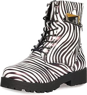 Military Combat Booties for Women- Comfort Outdoor Waterproof Zipper Martin Booties Mid-Calf Shoes