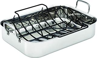 Anolon Triply Clad Stainless Steel Roaster / Roasting Pan with Rack - 17 Inch x 12.5 Inch, Silver