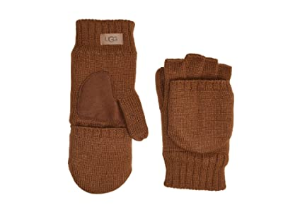 UGG Knit Flip Mitten with Tech Leather Palm and Sherpa Lining (Chestnut) Extreme Cold Weather Gloves