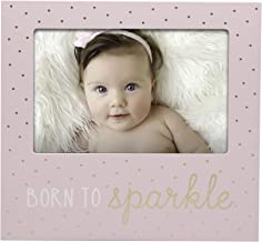 Little Blossoms by Pearhead Photo Frame, Born to Sparkle Keepsake, Baby Girl Nursery Gallery Wall, Pink