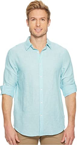 Perry Ellis - Rolled-Sleeve Solid Linen Cotton Shirt
