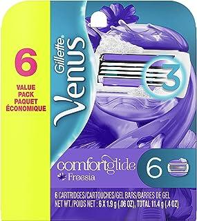 شارژ ریش تراش زنانه Gillette Venus ComfortGlide Freesia ، 6 بار دیگر (بسته بندی ممکن است متفاوت باشد)