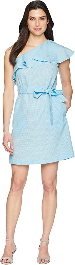 Cotton One Shoulder Dress with Belt