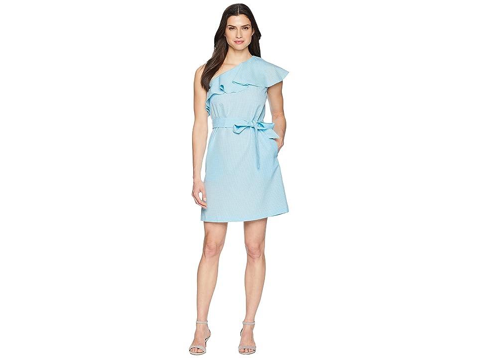 Donna Morgan Cotton One Shoulder Dress with Belt (Aqua) Women