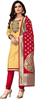 Ghaludi Fab Women's Cotton Embroidery Work With Heavy Worked Dupatta Salwar Suit Dress Material