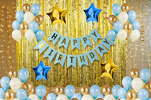 Smartz Minds Happy Birthday Blue Banner Decorations Kit with Star foil Balloon 81 Pcs