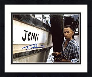 """Framed Tom Hanks Autographed 8"""" x 10"""" Forrest Gump Painting Jenny On Side of Boat Photograph - Beckett COA - Beckett Authentication"""