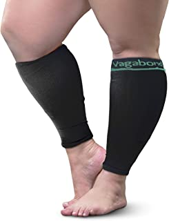 Vagabond XXL Large Wide Calf Graduated Compression Sleeves-Soothing Comfy Gradient Support-Prevents Swelling, Pain, Edema, DVT-Large Cuffs-Stretch to 26 Inches-Unisex, For Nurses, Seniors, Flights
