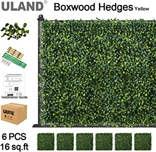 ULAND Artificial Boxwood Hedges Mat, Faux Grass Greenery Wall Decoration, Outdoor Garden Privacy Screen Fence, Pack of 6pcs 20