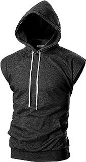 OHOO Mens Slim Fit Sleeveless Lightweight Zip-up Hooded Vest with Zipper Trim