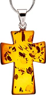 925 Sterling Silver Pendant Necklace with Genuine Natural Baltic Amber Cross. Chain Included