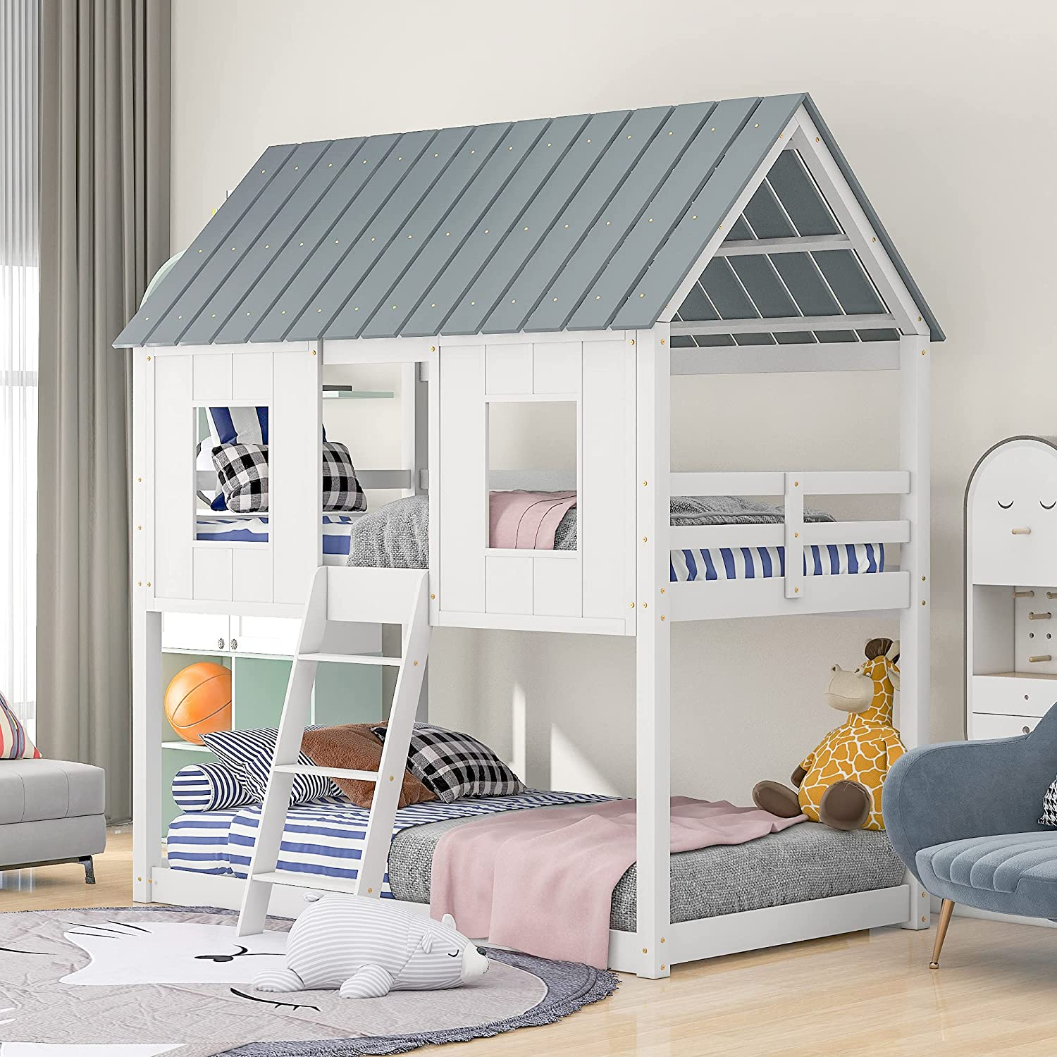 Twin Over Tulsa Mall Bunk Beds Rockjame Be super welcome Bed Frame with Roof Low