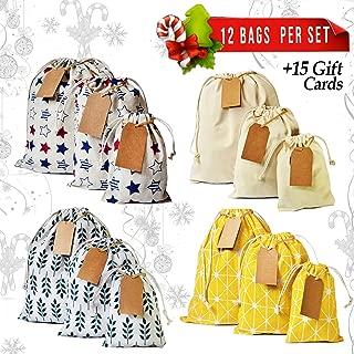 Erimova - Christmas gift bags 12 pcs + 15 gift cards, Reusable Drawstring Gift bags, Fabric Gift bags bulk for Weddings Birthdays Arts Crafts, Small gift bags - Medium - Large, Storage bags. 1st Ed.