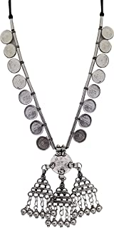 Total Fashion Afghani Banjara Style Coin Silver Oxidised Chain Necklace for Women & Girls